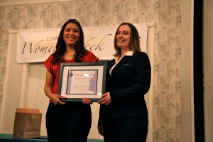 2013 Award recipient Amsi Morales and emcee Jessica Wilson.